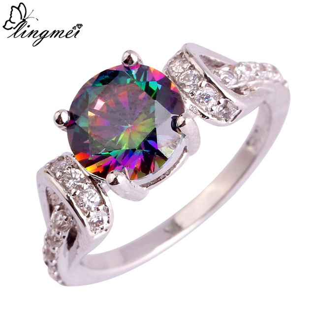 lingmei $0.99 Big Promotion Wholesale Fashion Mystic White CZ Silver Color Ring