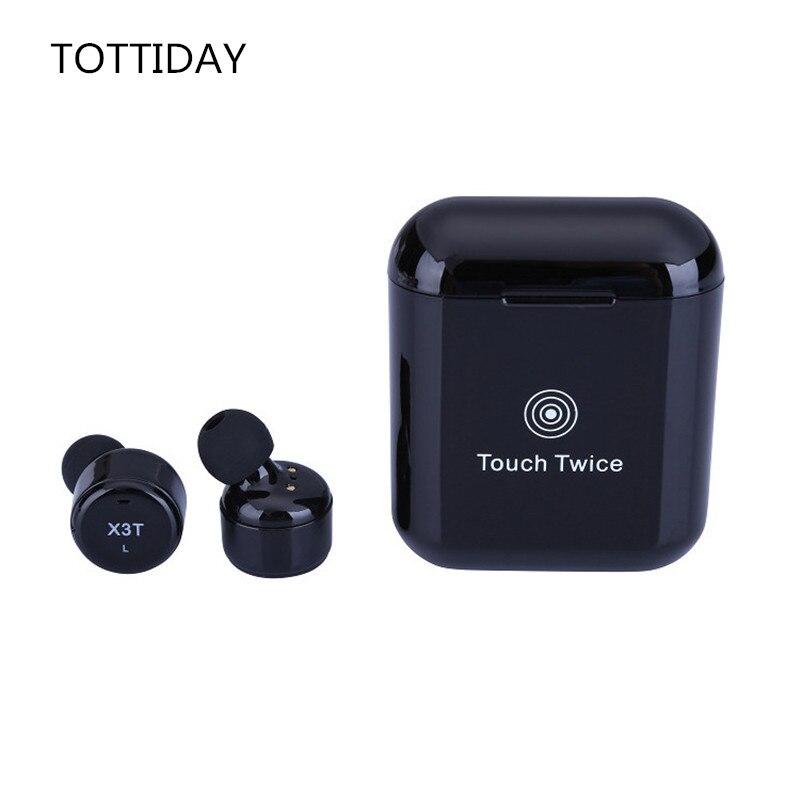 TOTTIDAY TWS X3T sans fil Bluetooth 4.2 casque écouteur avec chargeur boîte basse X1t X2T mis à niveau pour iPhone Samsung Android