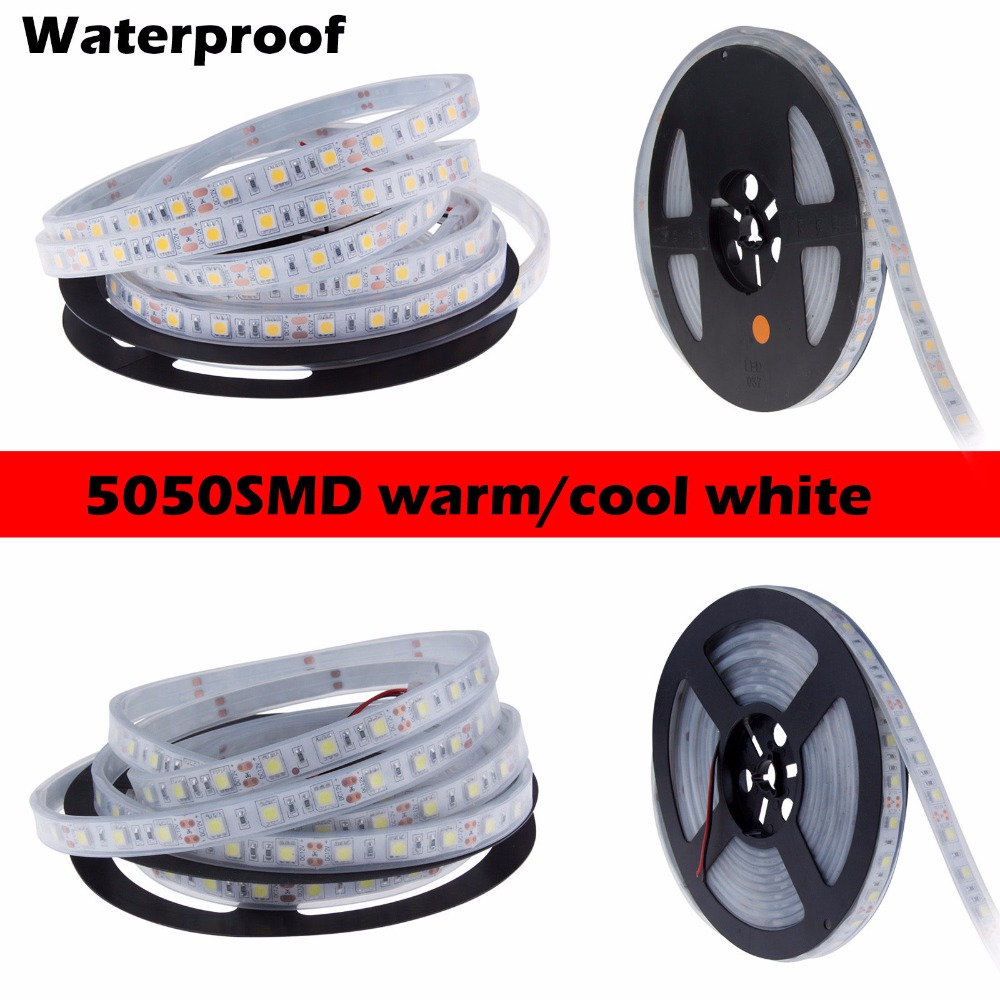 1m/2m/3m/4m/5m IP67 Waterproof 5050 LED Strip Fexbile Light DC12V 60 LED/M High Quality Silicon Tube Waterproof Fita De