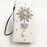 Bling 3D DIY Diamond Rhinestone Christmas Snowflake Leather Case For Samsung Galaxy S3 S4 S5 S6