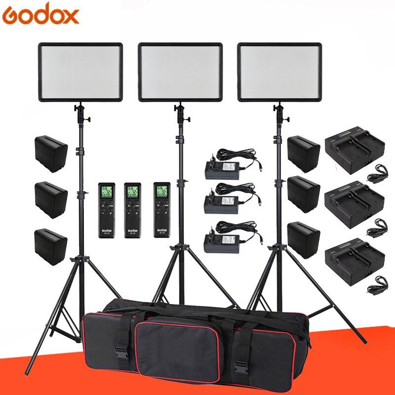6 pièces Batteries + 3x Godox Ultra Mince led P260C 256 pièces led 30 W 3300-5600 K éclairage vidéo panneau kit d'éclairage + Stand + USB Chargeurs + Sac