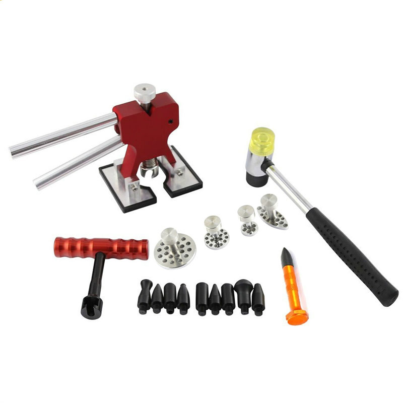 PDR Dent Lifter Kit red puller T-bar glue with Glue Puller Tabs & Rubber Hammer PDR Knock Down Tools  pdr rods kit with slider hammer dent lifter bridge puller set led line board glue stricks pro pulling tabs kit for pop a dent