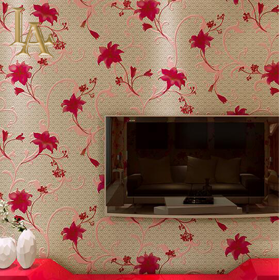 Classic Red Plaid Flower Wallpaper For Walls 3 D Bedroom Living Room  Background Decor Chinese Style Floral Wall Paper Rolls In Wallpapers From  Home ... Part 21