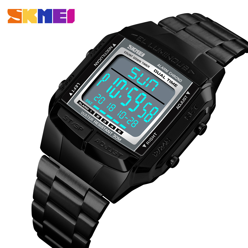 <font><b>Skmei</b></font> Designer Square Case LED Digital Watch Men Sports Military Reloj Hombre Alarm Waterproof Mens Electronic Watches Drop Ship image
