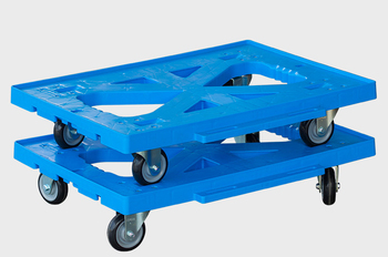 silent flat trolley flat hand push tool logistics turnover cart with four wheels workshop warehouse industrial plastic trolley