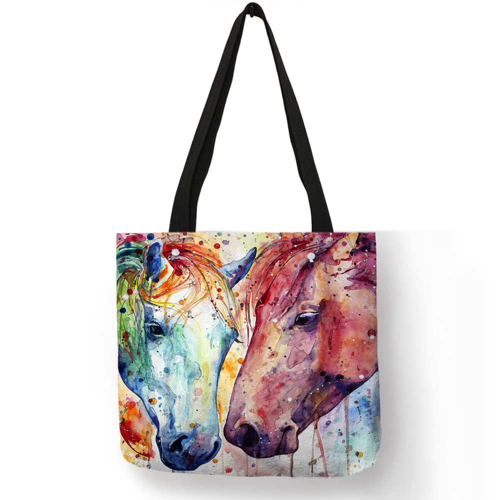 Exclusive Watercolor Horse Print Linen Shopping Bag Folding Reusable Traveling School Bags  Casual Handbags For Women