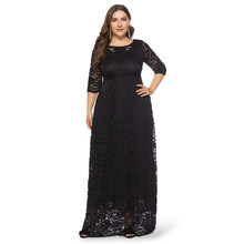 Wipalo Plus Size 6XL Round Collar Three Quarter Sleeve Lace Crochet Women Dress Casual Pocket Club Party Dress Sexy Vestidos(China)