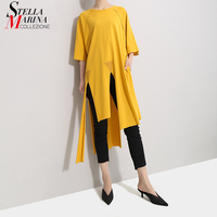 New 2019 Korean Style Women Solid Yellow Long Tee Top Half Sleeve Ripped Hem Design Female Unique Hipster T shirt Tshirts 5041