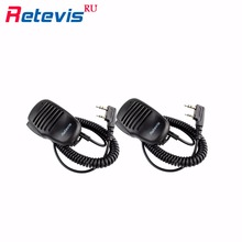 2pcs 2Pin PTT Mini Speaker Microphone Walkie Talkie Mic Accessories For KENWOOD RETEVIS For PUXING For TYT For HYT BAOFENG UV5R