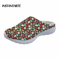 INSTANTARTS 2018 Summer Woman Mesh Slippers Fashion Book Lovers Pattern Slides Female Beach Water Shoes Light Ladies Sandals