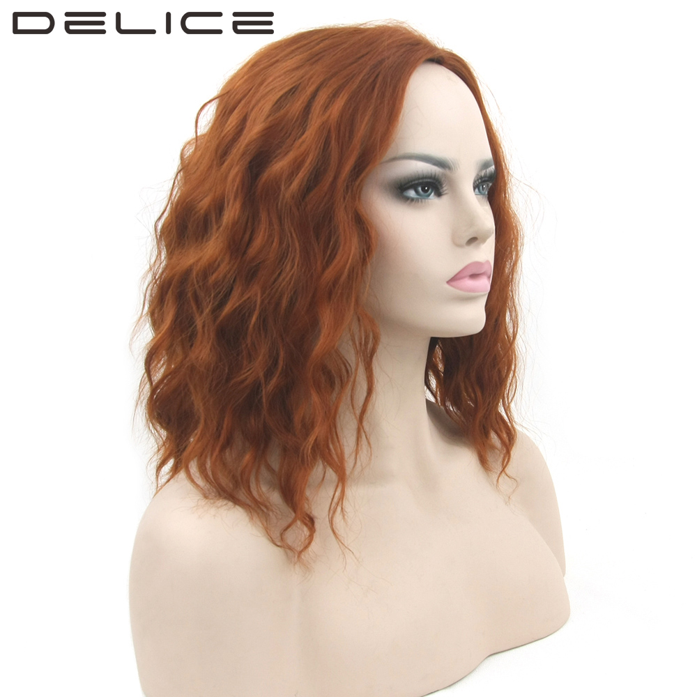 DELICE Womens Golden Brown Black Curly Bob Wig High Temperature Fiber Synthetic Hair Party Cosplay Short Wigs 16inch/piece