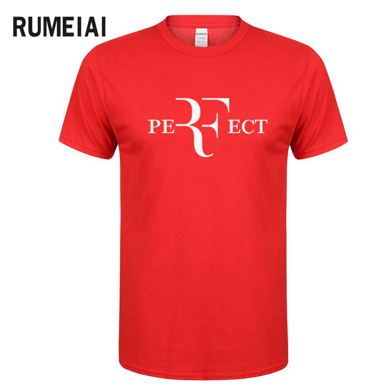 RUMEIAI 2017 Roger Federer RF Männer T Shirts Baumwolle O Hals kurzen Ärmeln casual T shirts American Apparel Herren Hemd Großhandel Top