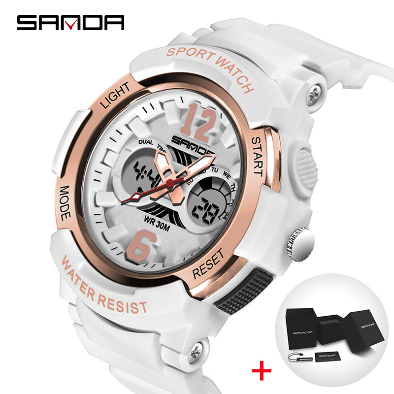 SANDA Watches Children Colorful LED Back Light Sport Kids Wristwatches Alarm Chronograph 30m Waterproof Calendar Clock 2018 Gift alarm clock robot kids gift