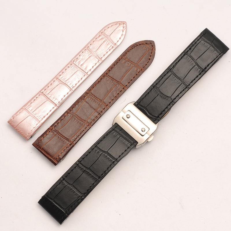 купить Genuine Calfskin Leather Watch Band 20mm Women Wrist Bracelet Black Clock Hours Popular Belt Butterfly Buckle Clasp Watch Strap по цене 3316.92 рублей
