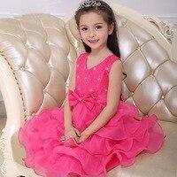 Geborduurd diamanten prinses jurk meisjes jurk meerdere verdiepingen poncho kinderen jurk kinderkleding.