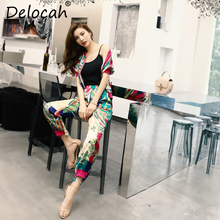 Delocah New Women Spring Summer Suits Runway Fashion Designer Loose Tops anb Floral Printed Elegant Vintage Pants Two Pieces Set delocah women spring summer suits runway fashion designer beading sequined shirt elegant vintage slit long pants two pieces set
