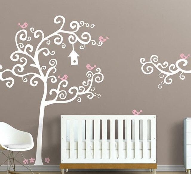 aliexpress com buy large swirly tree with birds wall decal vinyl