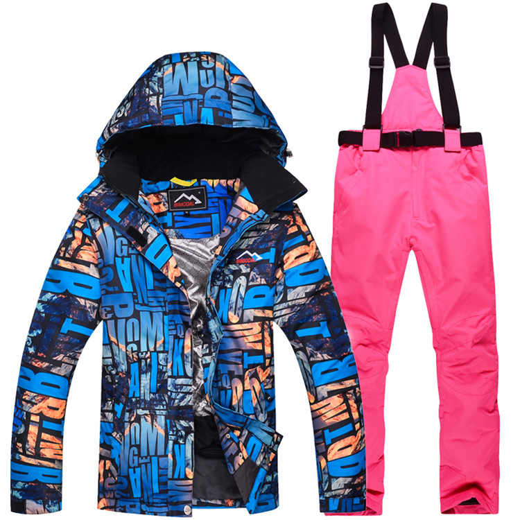 Cheaper Women Snow Clothes Zebra Crossing Skiing Snowboarding Suit Sets Windproof Waterproof Outdoor Sports Jacket And Bibs Pant