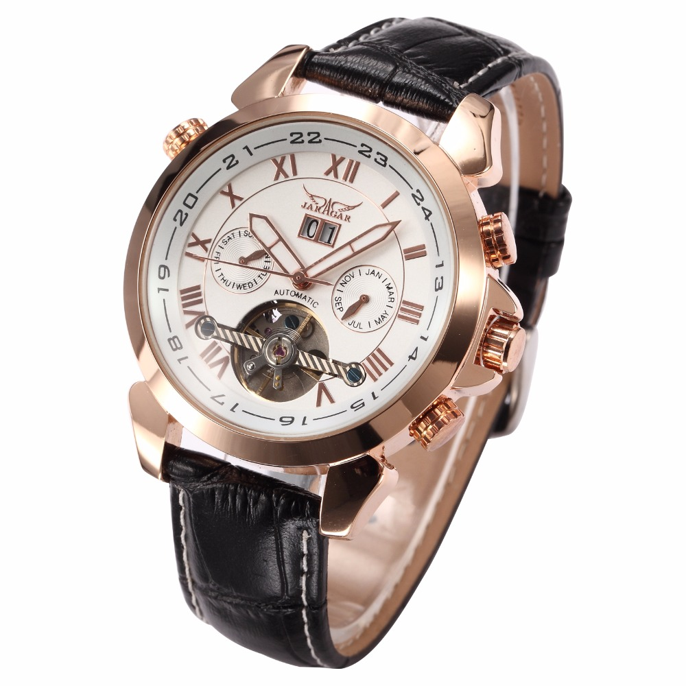 JARAGAR Casual Tourbillon Wrap Mens Watches Date Day Automatic Watch Rose Gold Case Calendar Male Clock Mechanical Watch 2017 gold watches men automatic watch day date calendar display high quality mechanical tourbillon watch luxury brand clock male