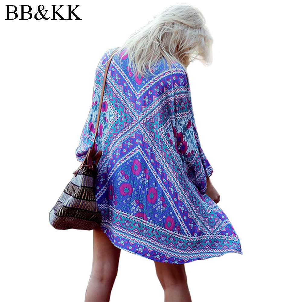 夏のスタイルの女性幾何学プリントシフォンハーフ長袖自由奔放に生きるルーズトップブラウスマキシ着物カーディガン