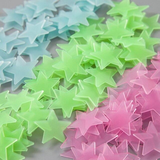 100 pcs. 3D stars glow tỏa sáng trong the dark Luminous trên Tường Phát Sáng Dán cho Trẻ Em Phòng khách phòng Tường Decal Nhà trang trí