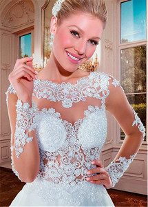 Image 4 - מפתה טול Bateau מחשוף לראות דרך אונליין חתונת שמלות עם חרוזים אפליקציות תחרה ארוך שרוולי שמלות כלה