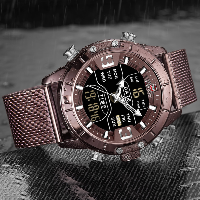 Image 3 - NAVIFORCE New Top Luxury Brand Stainless Steel Sports Men Watch Army Military Dual Display Waterproof Watches relogio masculino-in Quartz Watches from Watches