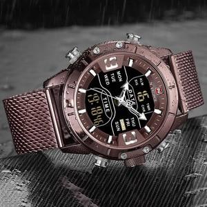 Image 3 - NAVIFORCE montre de sport pour hommes, nouveauté, de marque de luxe, en acier inoxydable, bracelet de sport militaire à double affichage, étanches