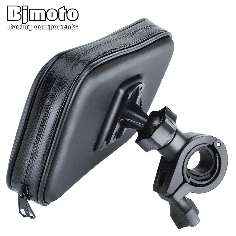 "Bjmoto waterproof Motorcycle motocross Bike ATV 3.5-6.2"" for 22-32mm handlbar Cell Phone GPS 360 rotating Mount Holder Charger"