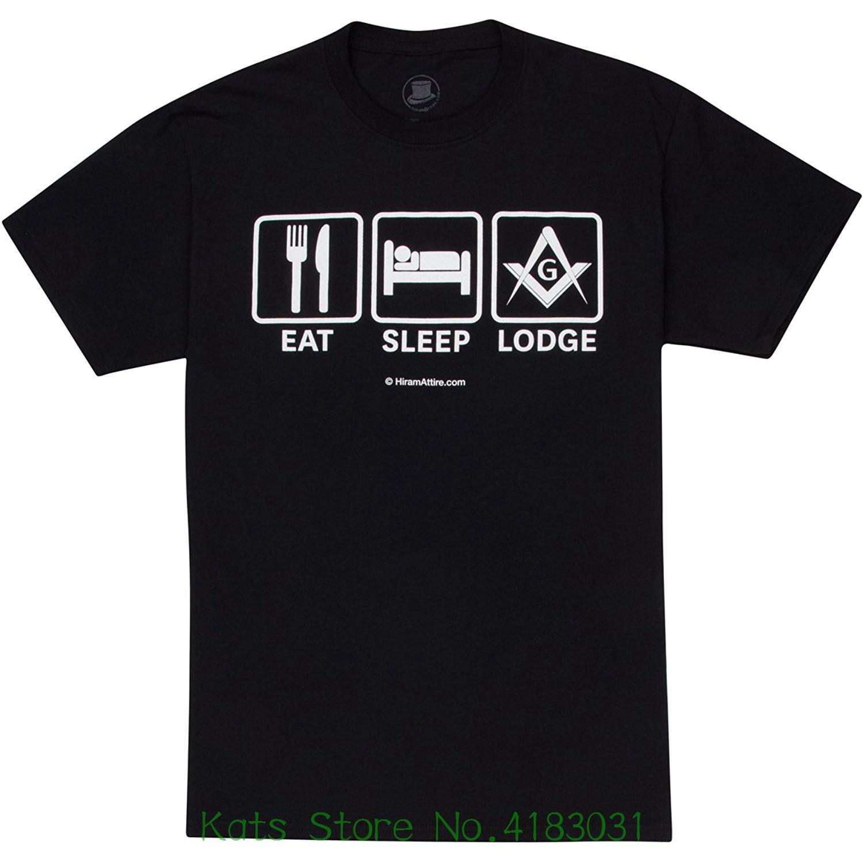 Hiramattire Masonic T-shirt Freemason Apparel Short Sleeve Classic Fit Black Eat Sleep Lodge Tops Tshirt Homme