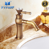 FYPARF Bathroom Faucet Antique Water Crane with Diamond Mixer Taps Hot and Cold Taps Single Handle Toilet Faucet Basin Faucets