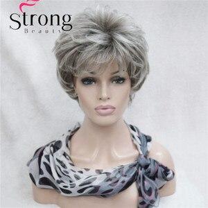 Image 2 - StrongBeauty короткие Многослойные Серебристые серые Омбре полный синтетический парик женские парики выбор цветов