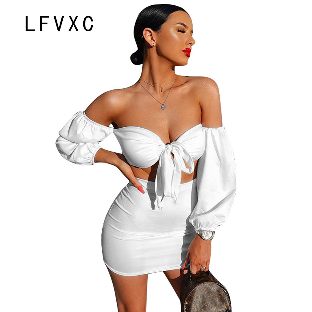LFVXC women skirt set 2018 crop top sexy bodycon two piece set slim sheath off shouler c ...