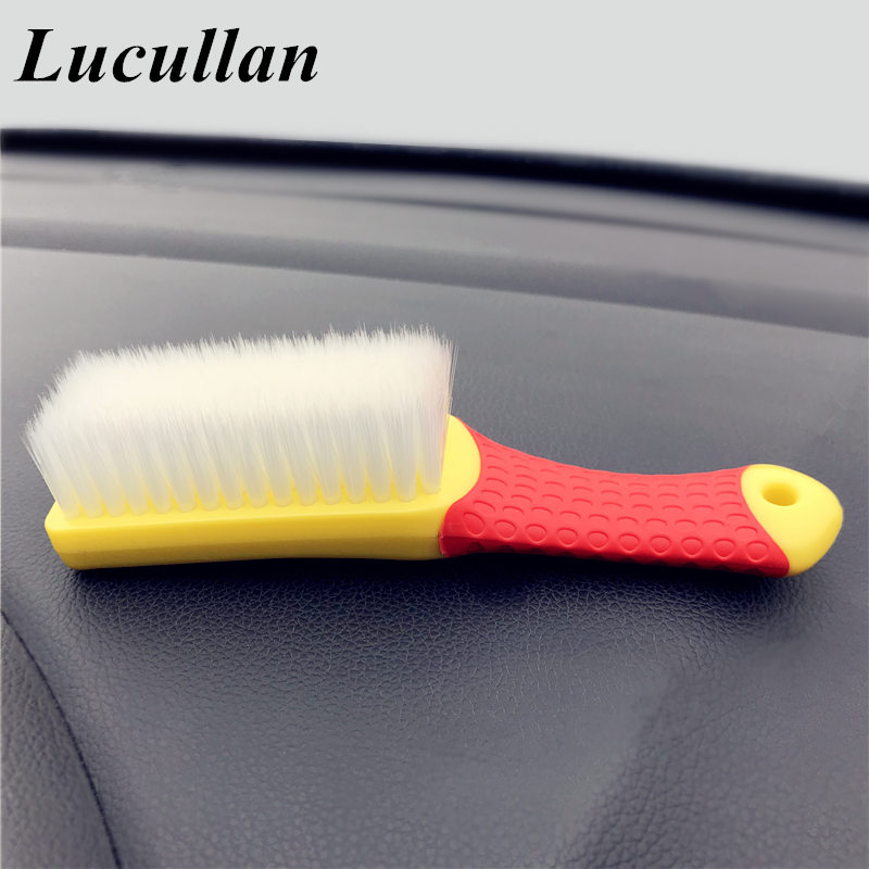 Lucullan Rubber Handle Interior Upholstery Detailing Brush SOFT Dense Hair For Interior Roof,Floor Matt,Fabric And Trunk Liner