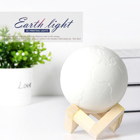 DIY Creative Decor lamp Rechargeable 3D effect Earth Lamp Moon Night Lights Abajur LED Touch Sensor Tap Earth Light
