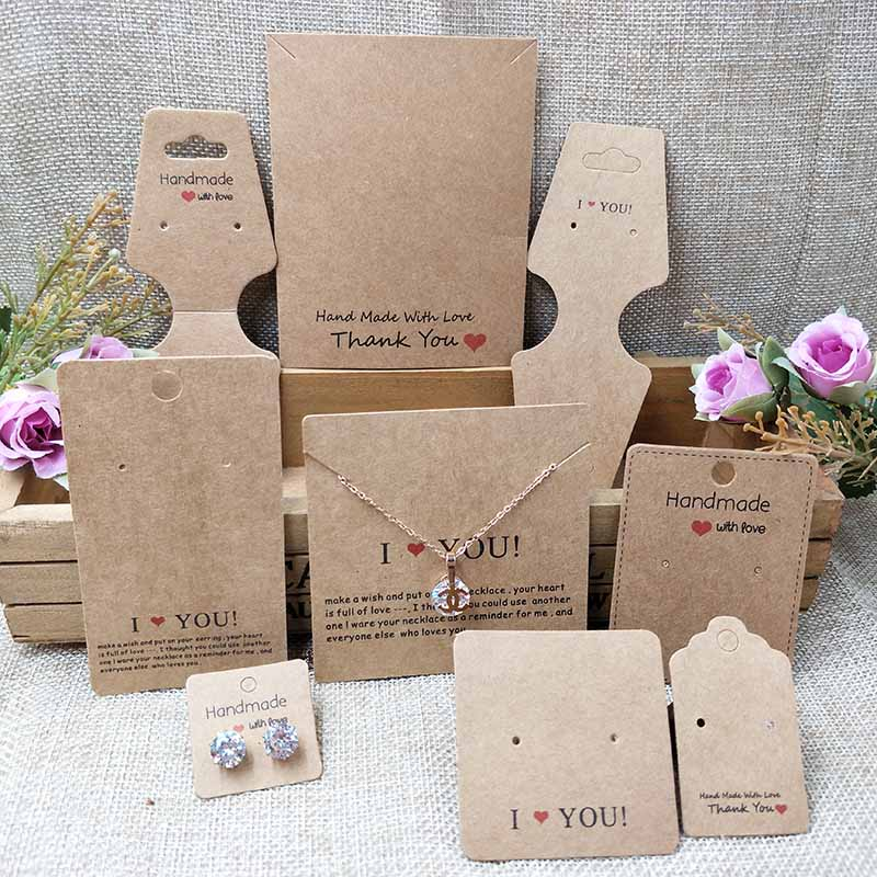 2018 New White/Kraft HandMade Jewerly Tag Necklace Card Earring Card   I Love You Display Jewelry Set Cards 1lot=100pcs