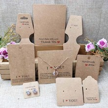2018 New White/Kraft HandMade Jewerly Tag Necklace Card Earring  I Love You Display Jewelry Set Cards 1lot=100pcs