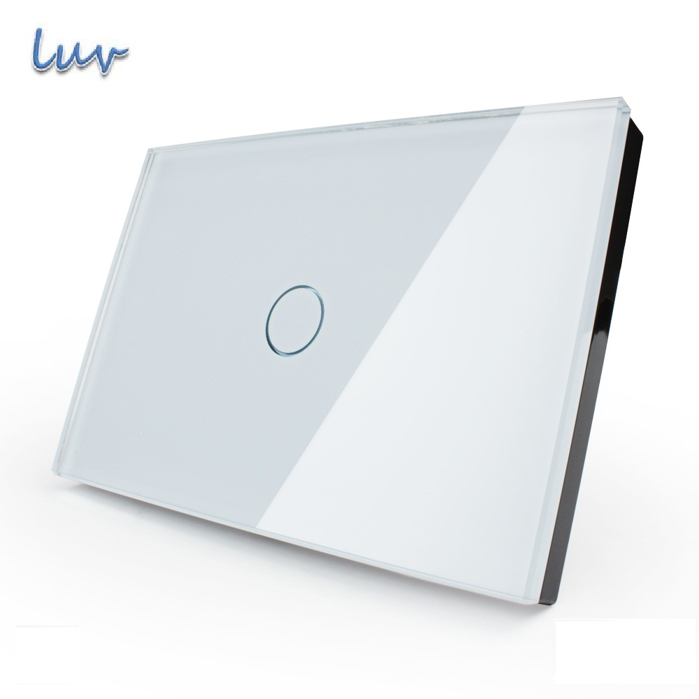 Smart home Touch Switch White Crystal Glass Panel AC110 250V LED indicator US Light Touch Screen