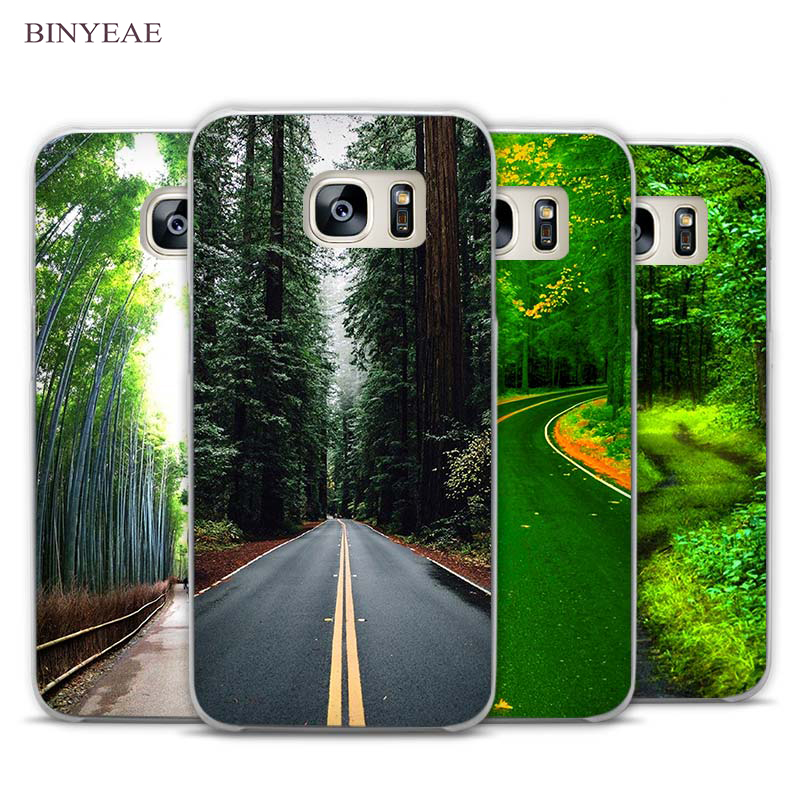 BINYEAE Green Forest Road Tall Trees Clear Phone Case Cover for Samsung Galaxy Note 2 3 4 5 7 S3 S4 S5 Mini S6 S7 S8 Edge Plus