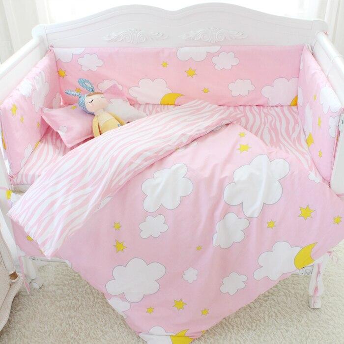 7 шт./компл. мультфильм кроватки хлопок кроватке бампер детская кроватка устанавливает детская кровать протектора комплект детского постел... ...