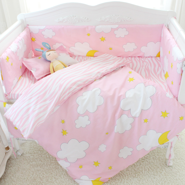 7 Pcs/sets cartoon crib cotton crib bumper baby cot sets baby bed protector child bedding set pillowcase duvet cover flat sheet promotion 6pcs baby bedding set cotton baby boy bedding crib sets bumper for cot bed include 4bumpers sheet pillow