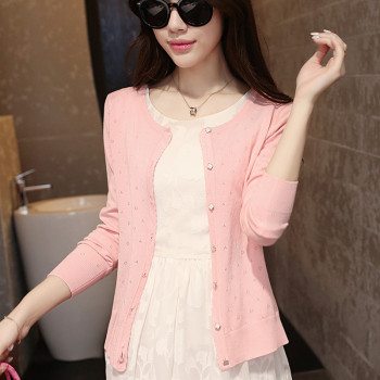 2015 autumn female thin cutout long-sleeve air conditioning shirt cardigan coat sweater