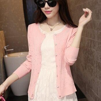 2015 autumn female thin cutout long-sleeve air conditioning shirt cardigan coat sweater