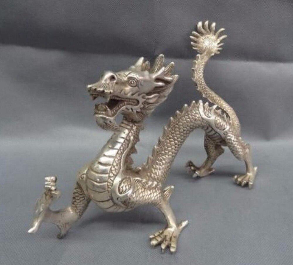 Antique antiquités de collection décoré vieux travail manuel Tibet argent sculpté grande Statue de Dragon/Sculpture