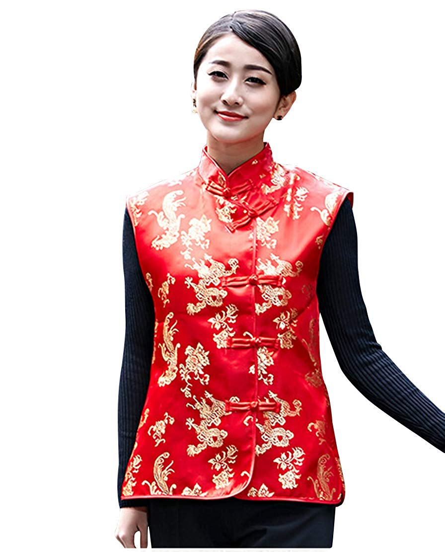 Shanghai Story Autumn Dragon Phoenix Embroidery Mandarin Collar Chinese Button Red Vest Embroidered Red Chinese Sleeveless Jacke