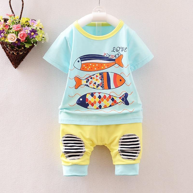 (2pcs/set)Baby vest set 6M-3Y Clothing Set Brand Baby Boy/Girl Clothes 100% Cotton Cartoon fish printed Underwear,