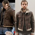 Resident Evil 4 Leon Kennedy Jacket Leather Winter Outerwear Coat Cosplay Costume Men's Clothing High Quality Version