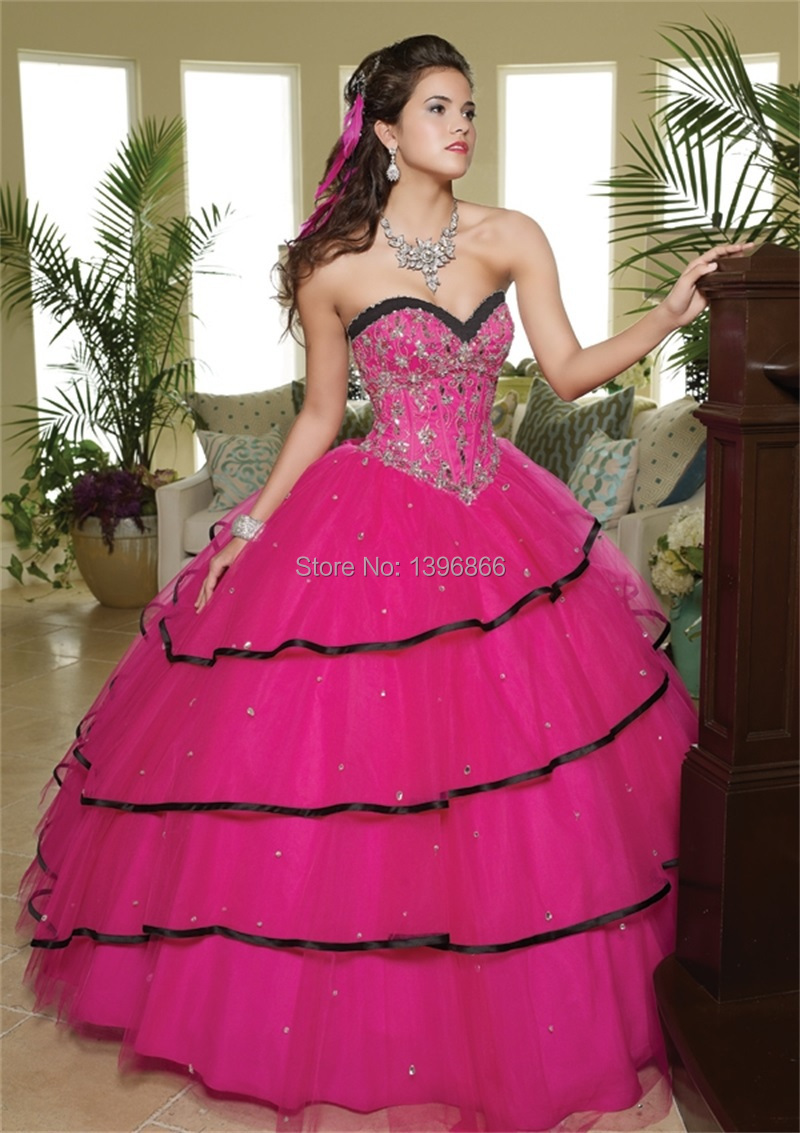 Free Shipping Pink And Black Quinceanera Dress Appliques Beaded ...