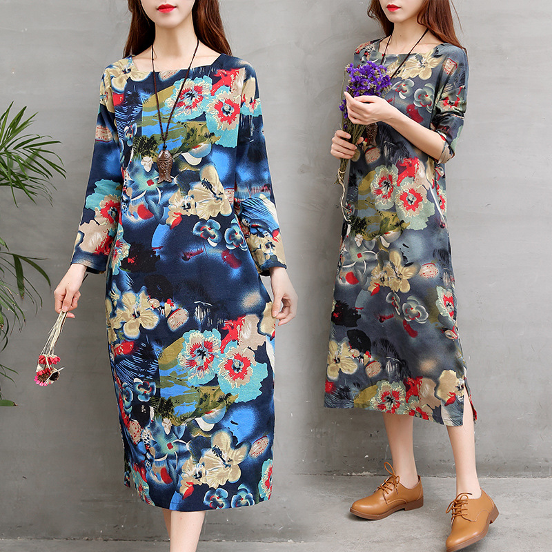5a3b1b40da815 Pregnant Women Retro Dresses Wear 2017 New Autunm Winter Floral Print  Cotton Linen Loose Pullover Casual Maternity Clothes CE214