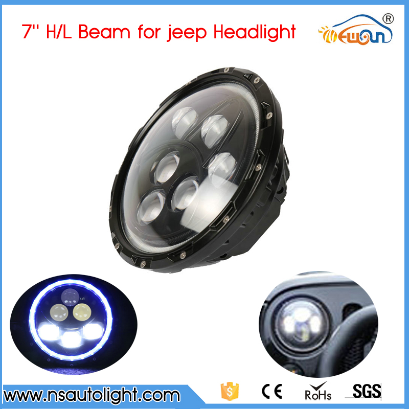 60W headlamp used for Jeep Wrangler Car Headlight 7inch High Low Beam LED Work Light with blue color angel eyes 1pair 7inch led headlight high low beam yellow truning signal for jeep wrangler with angel eyes